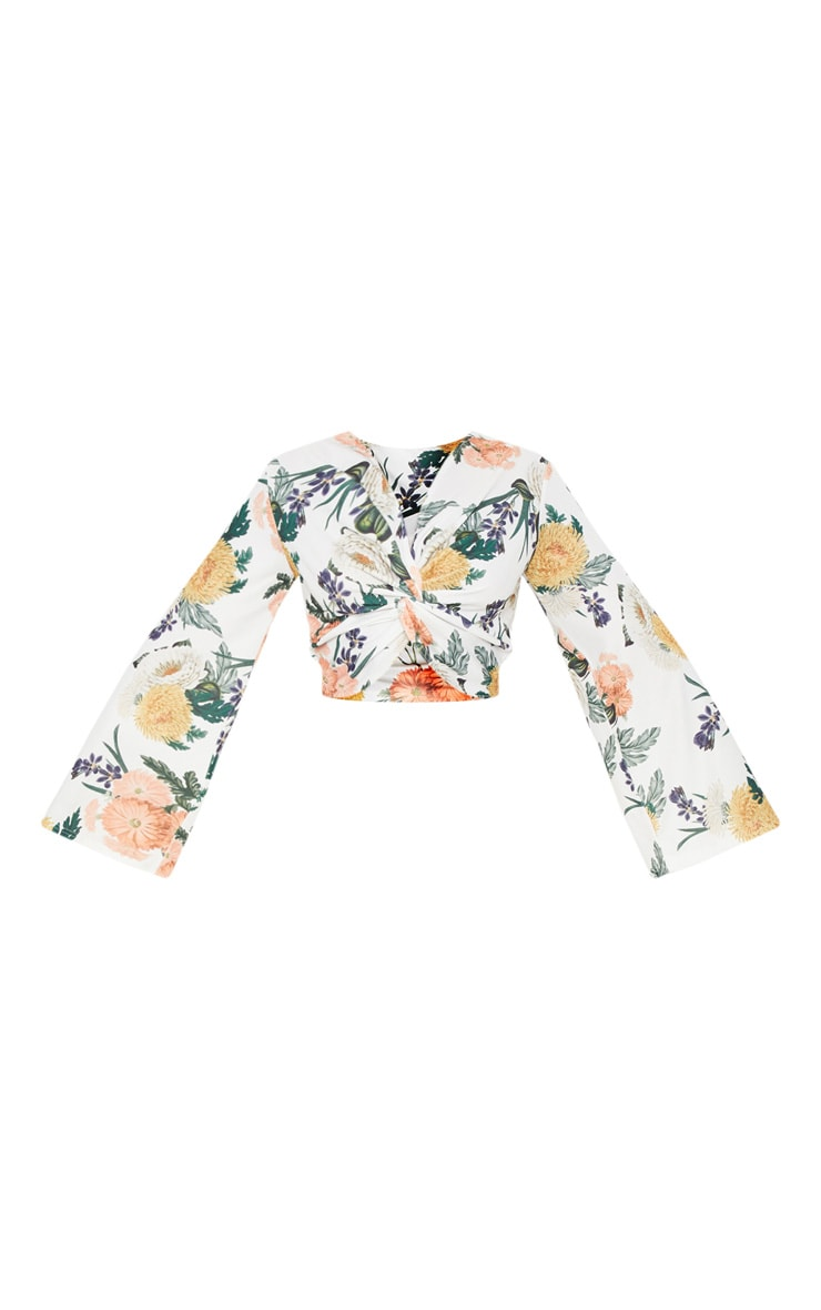 Plus White Floral Twist Front Crop Top 3