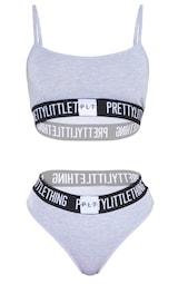 PRETTYLITTLETTHING Grey Jersey Logo Tape Lingerie Set 3
