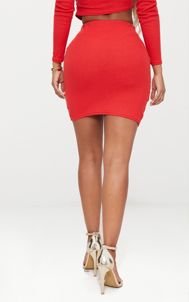 Shape Red Ribbed Bodycon Skirt 4