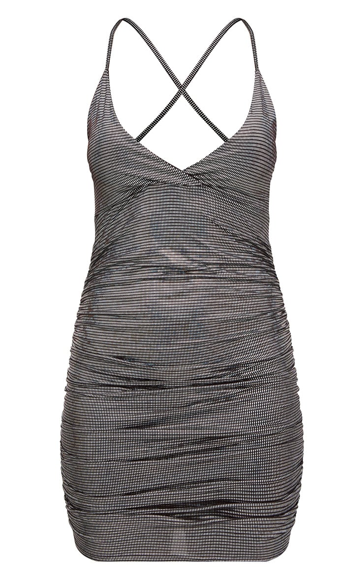 Black Sequin Printed Plunge Ruched Bodycon Dress 3
