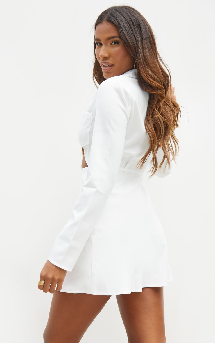 White Cut Out Collar Detail Bodycon Dress 2
