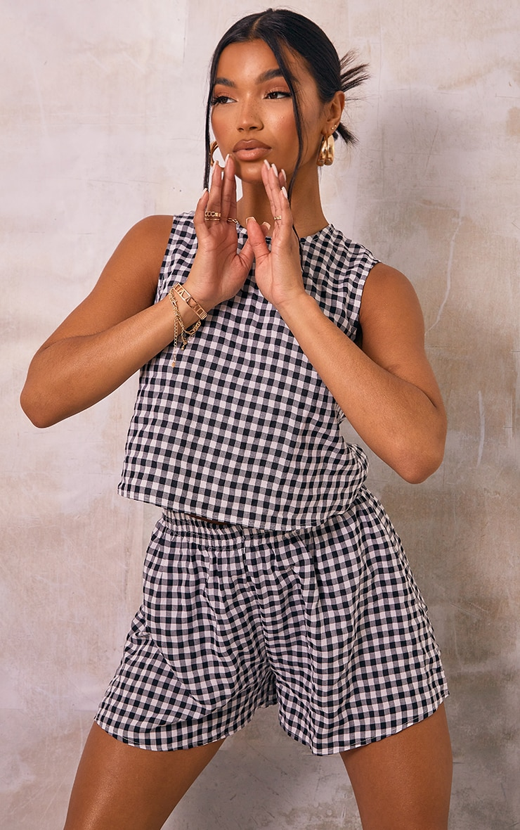 Black Gingham Printed Woven Floaty Shorts 4