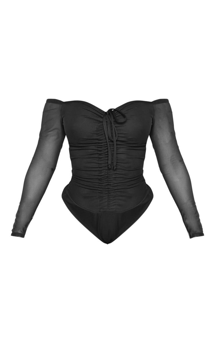 Shape Black Mesh Long Sleeve Ruched Bodysuit 3