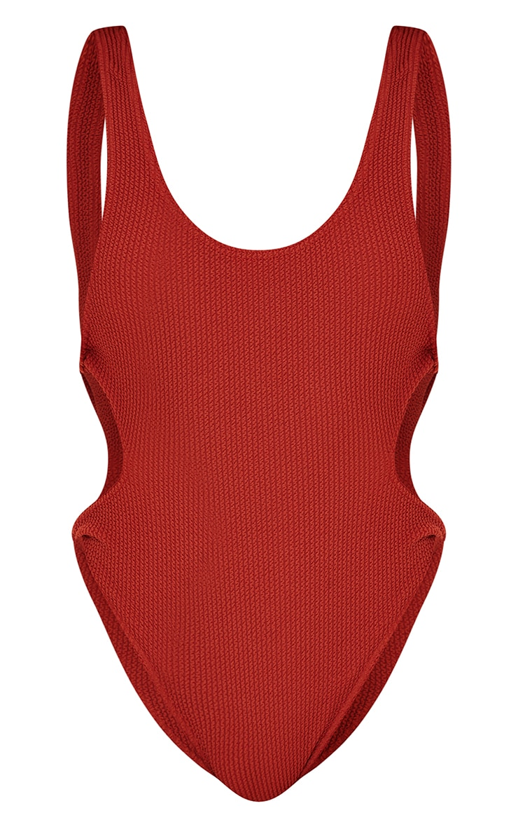 Brown Crinkle Cut Out Knot Side Swimsuit 5