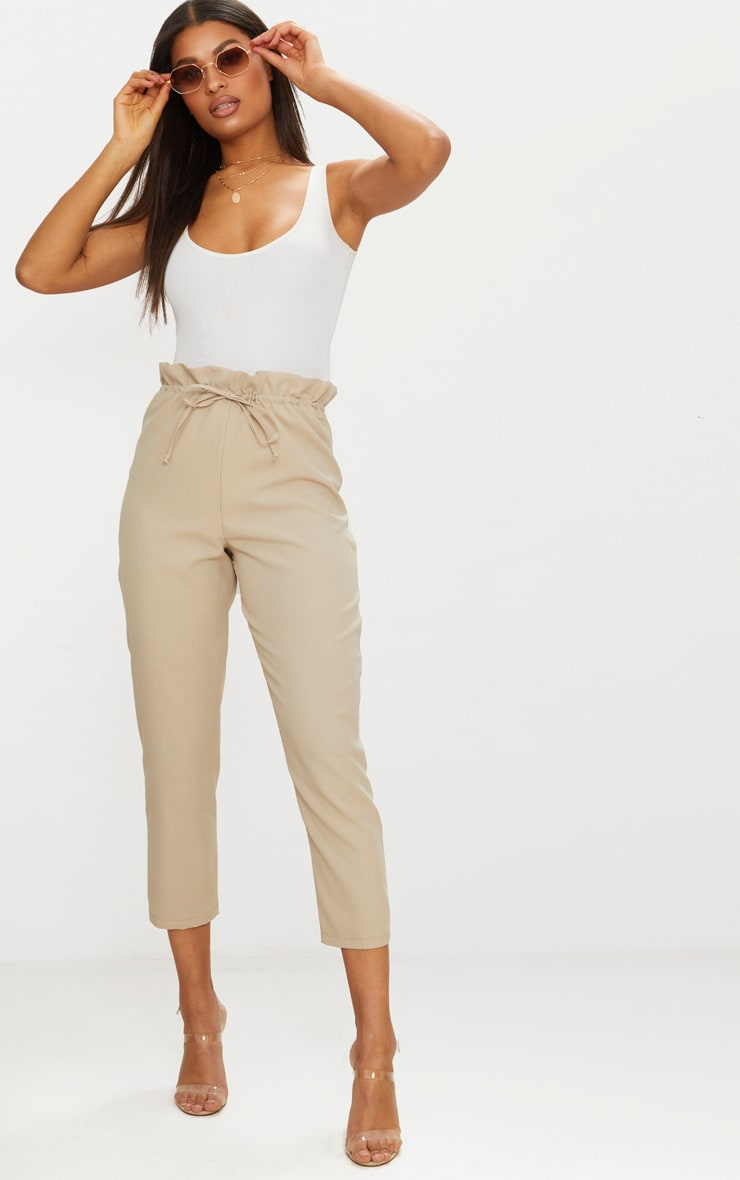 Cream Woven Paperbag Slim Leg Trousers