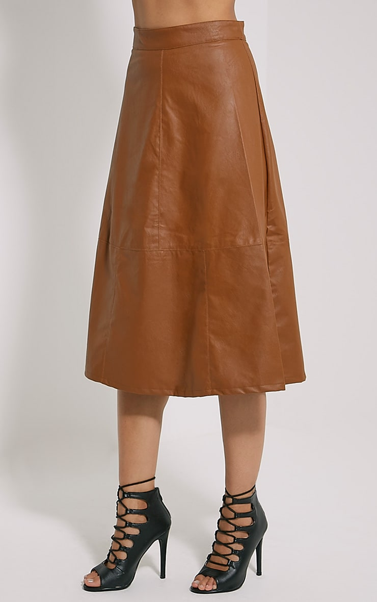 Alison Tan Faux Leather A-Line Midi Skirt 3