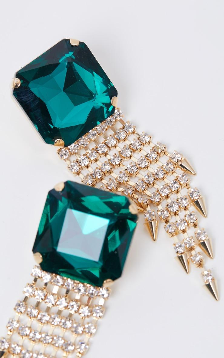 Green Oversized Gemstone Earrings With Diamante Drops 3