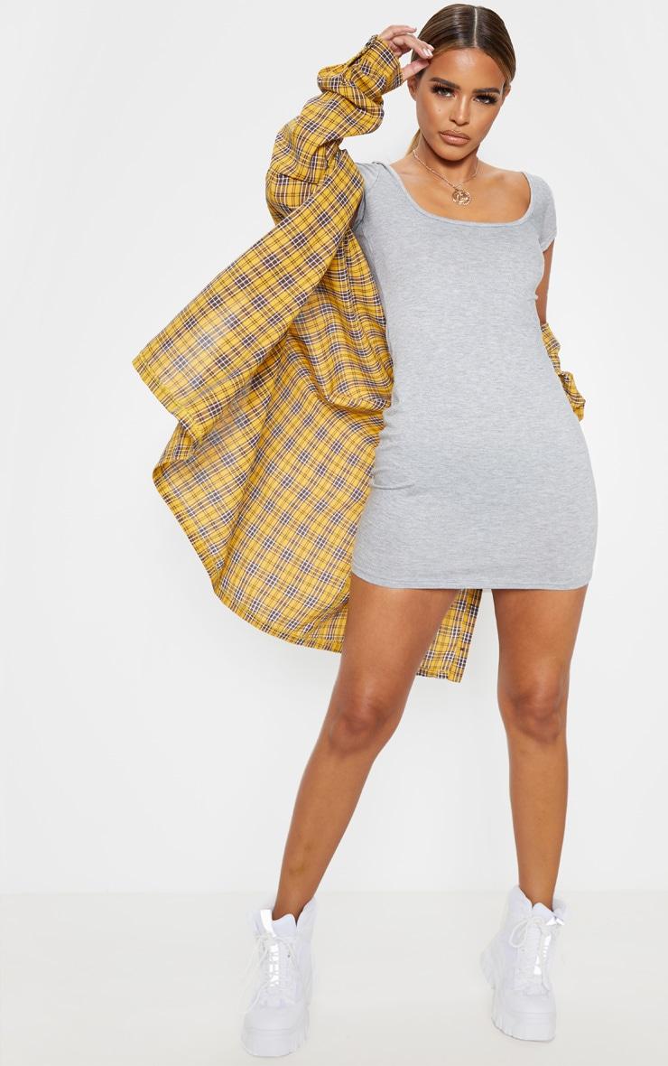 Petite Grey Marl Cap Sleeve Mini Dress 4