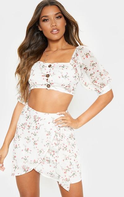 501d2beab8 White Ditsy Floral Print Wrap Detail Mini Skirt