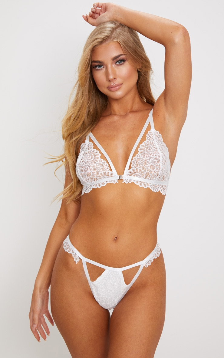 White Daisy Lace Cut Out Front Thong 1