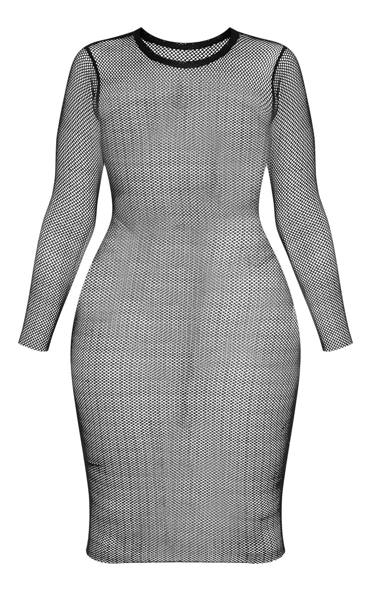 Shape Black Sheer Net Long Sleeve Midi Dress 3