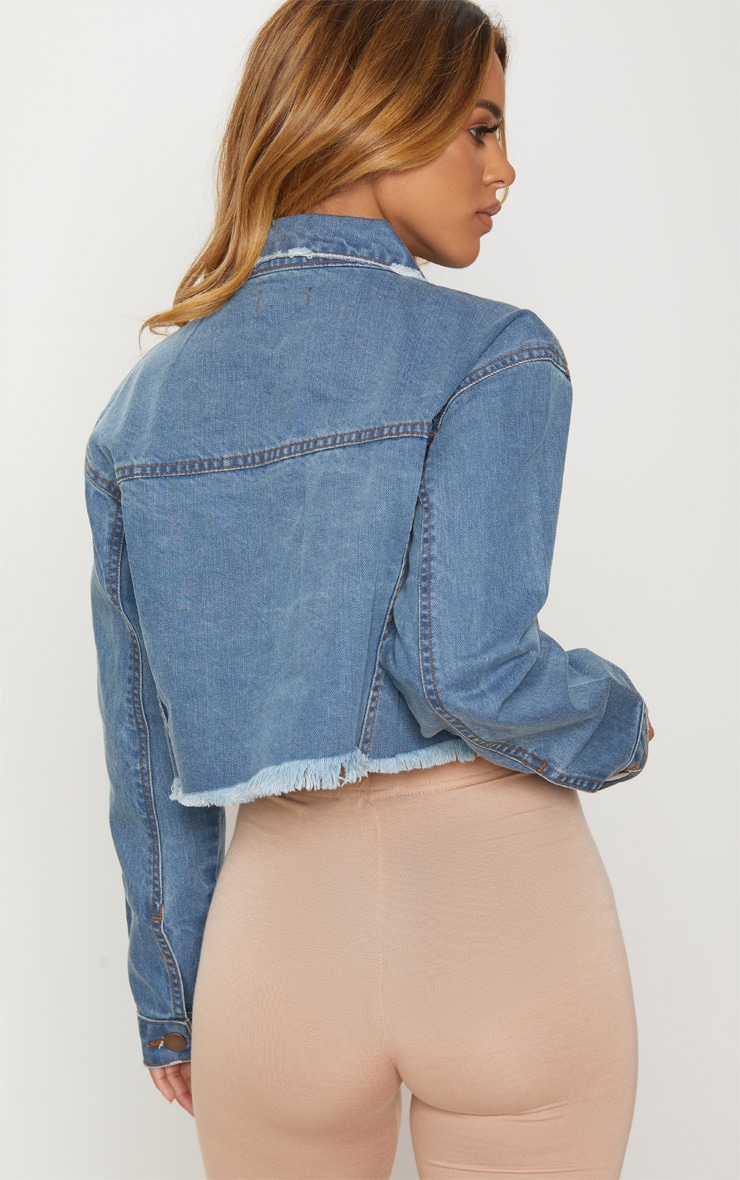 Petite Light Wash Raw Edge Cropped Denim Jacket  2