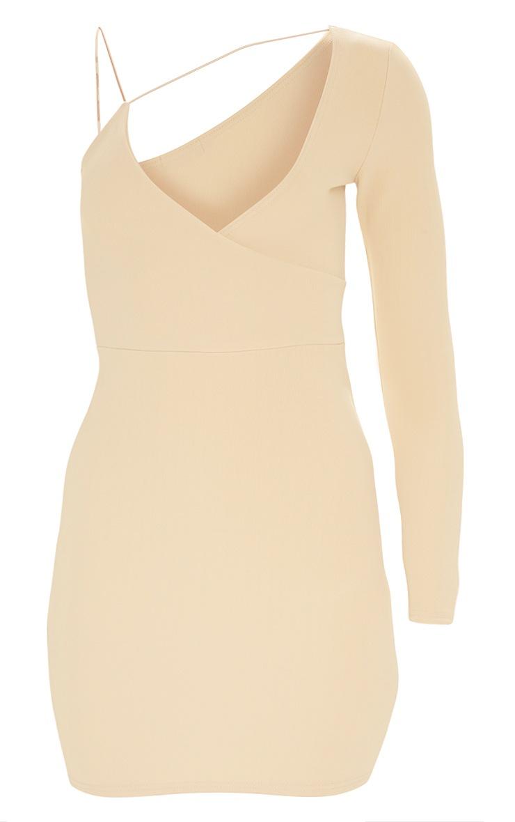 Plus Nude Second Skin Asymmetric Strap Bodycon Dress 3