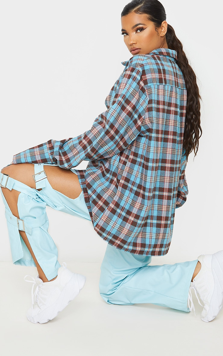 Baby Blue Tartan Checked Flannel Pocket Detail Oversized Shirt 2