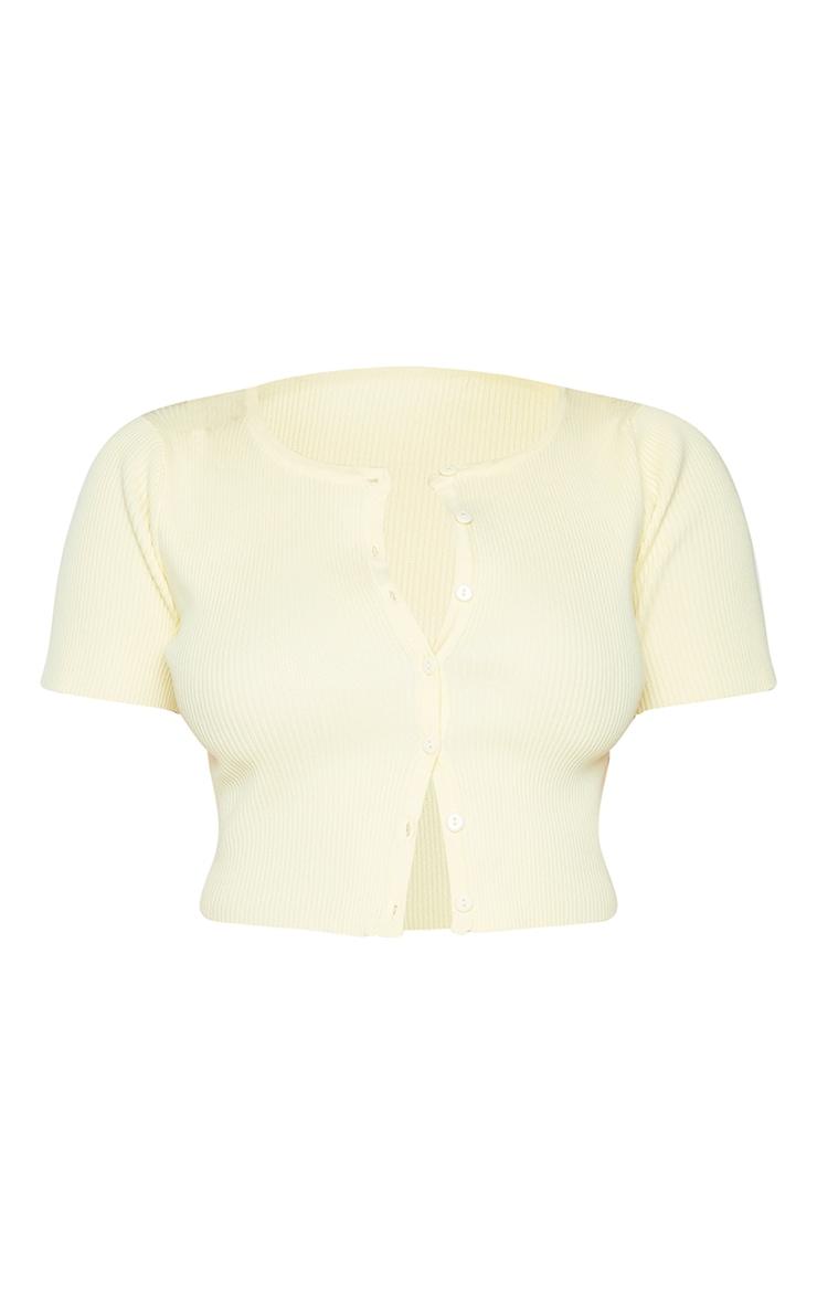 Lemon Ribbed Short Sleeve Button Up Cardigan 5