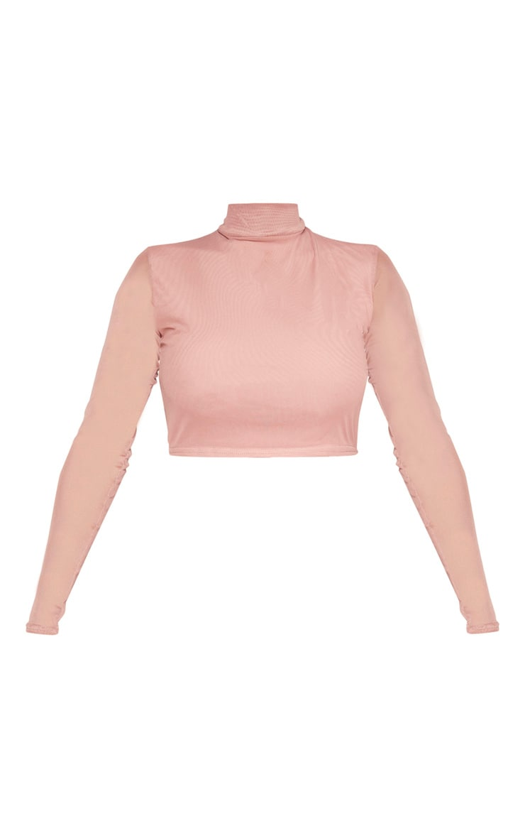 Shape Mauve Mesh Long Sleeve Crop Top 3