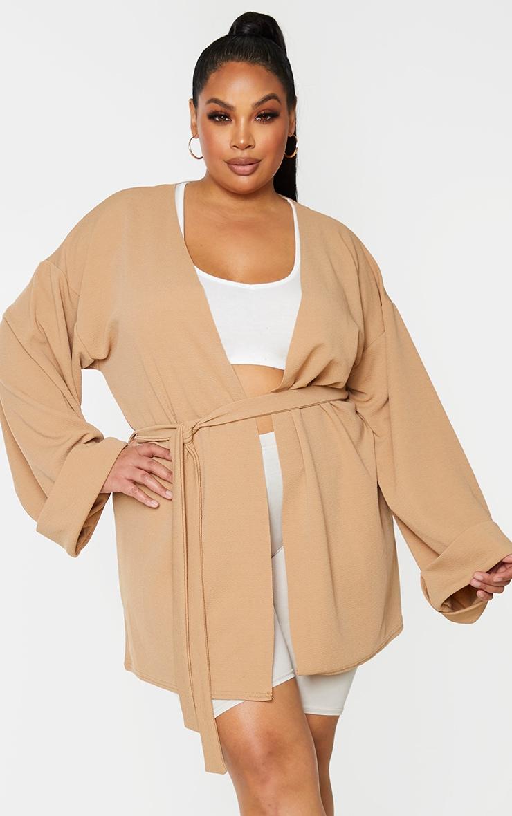 Plus Camel Belted Oversized Sleeve Blazer 1