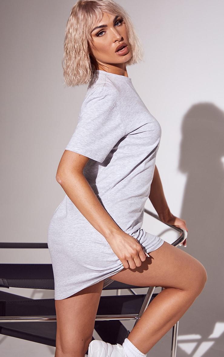 Basic Grey Marl Cotton Blend Basic Fitted T Shirt Dress 2