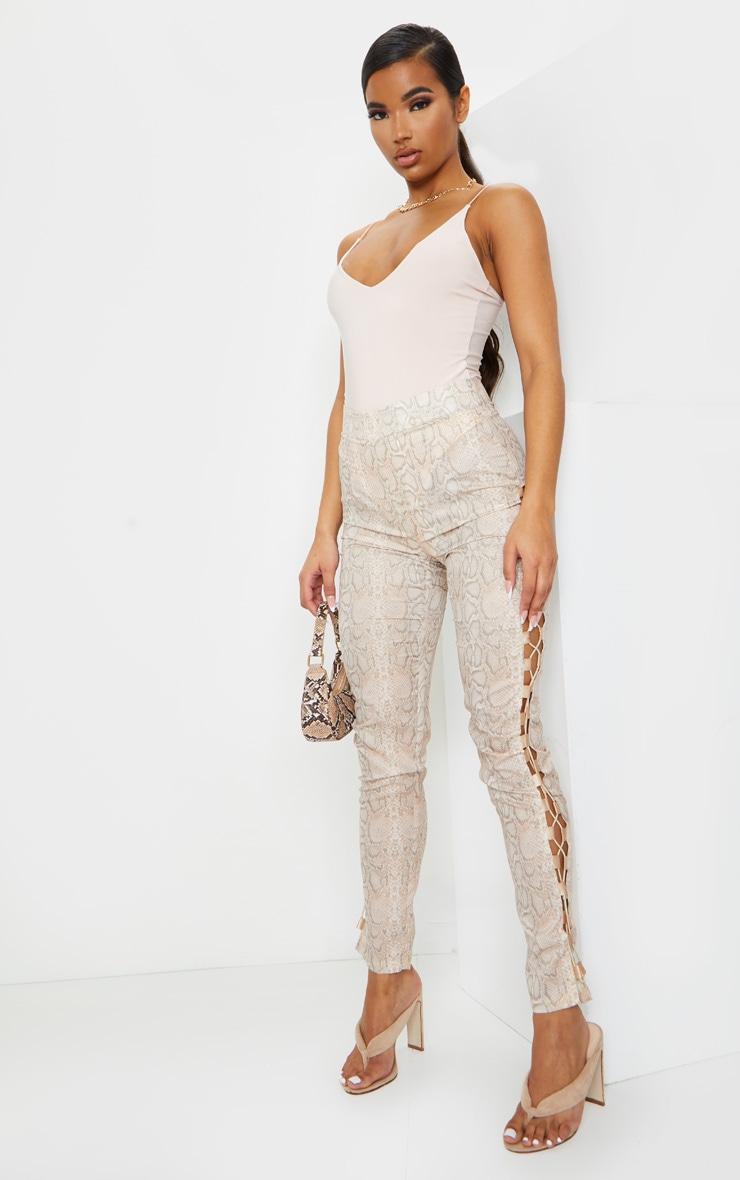 Nude Slinky Spaghetti Strap Plunge Bodysuit 3