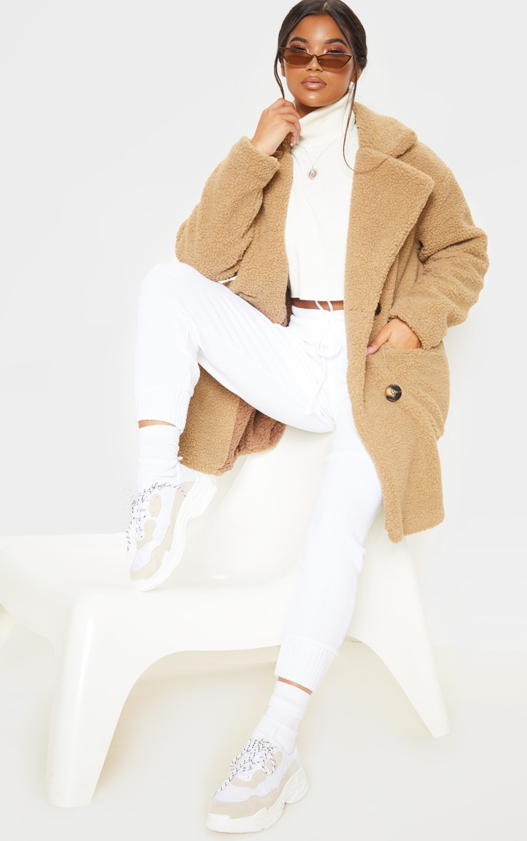 Manteau mi-long en imitation peau de mouton camel 4