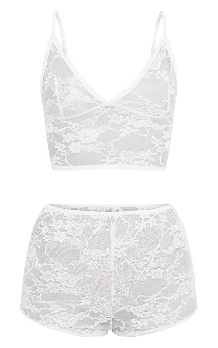 Luma Nude All Over Lace Crop Top & Short Set 3