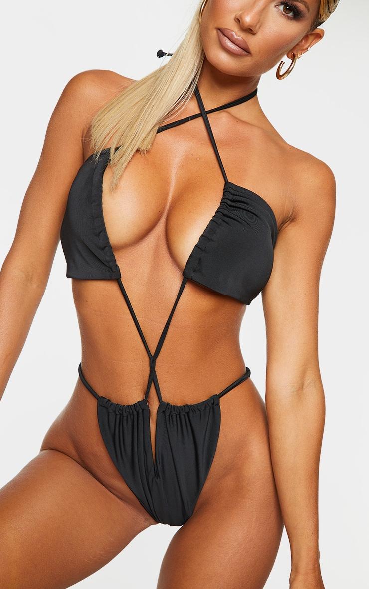 Black Cut Out Cross Body Swimsuit 4