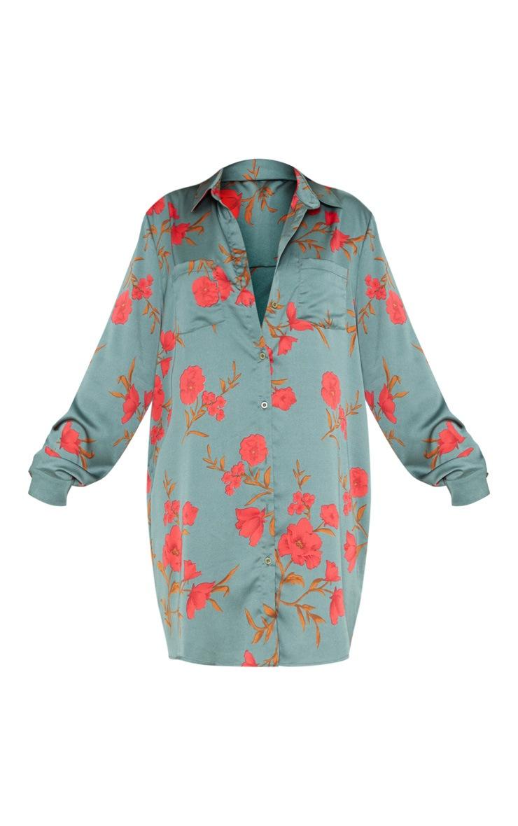 Green Floral Print Shirt Dress 4