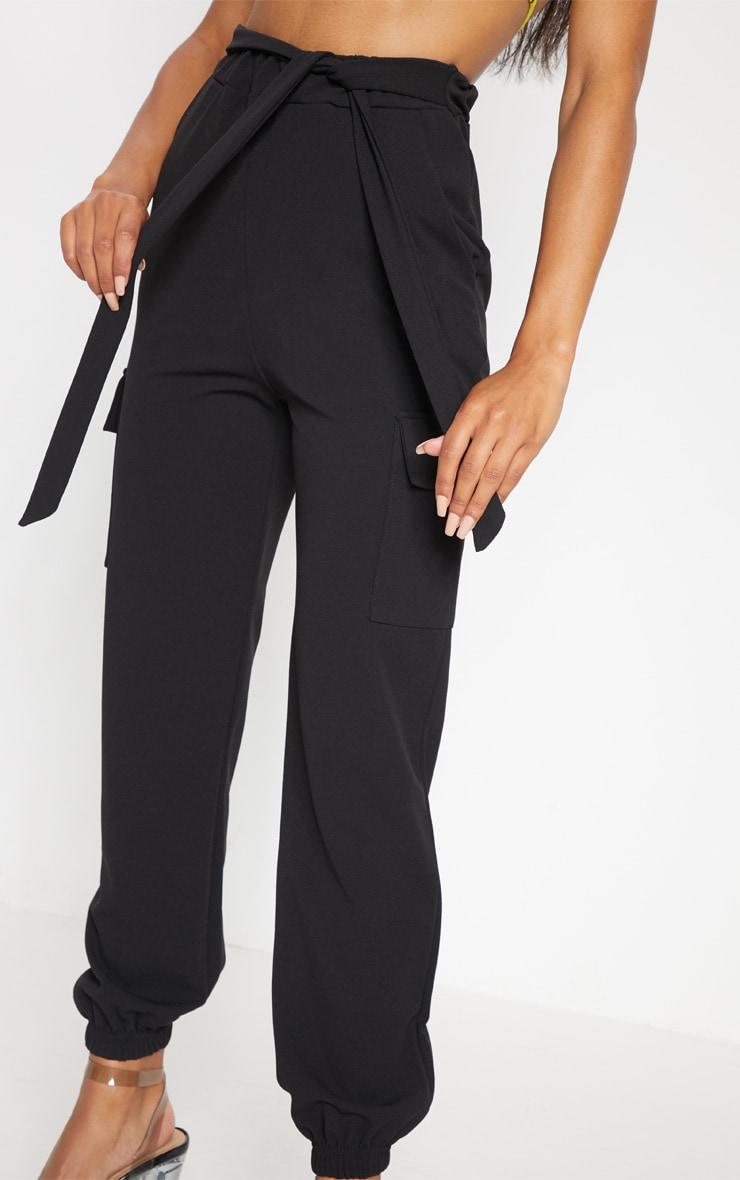 Black Tie Waist Pocket Detail Pants 5