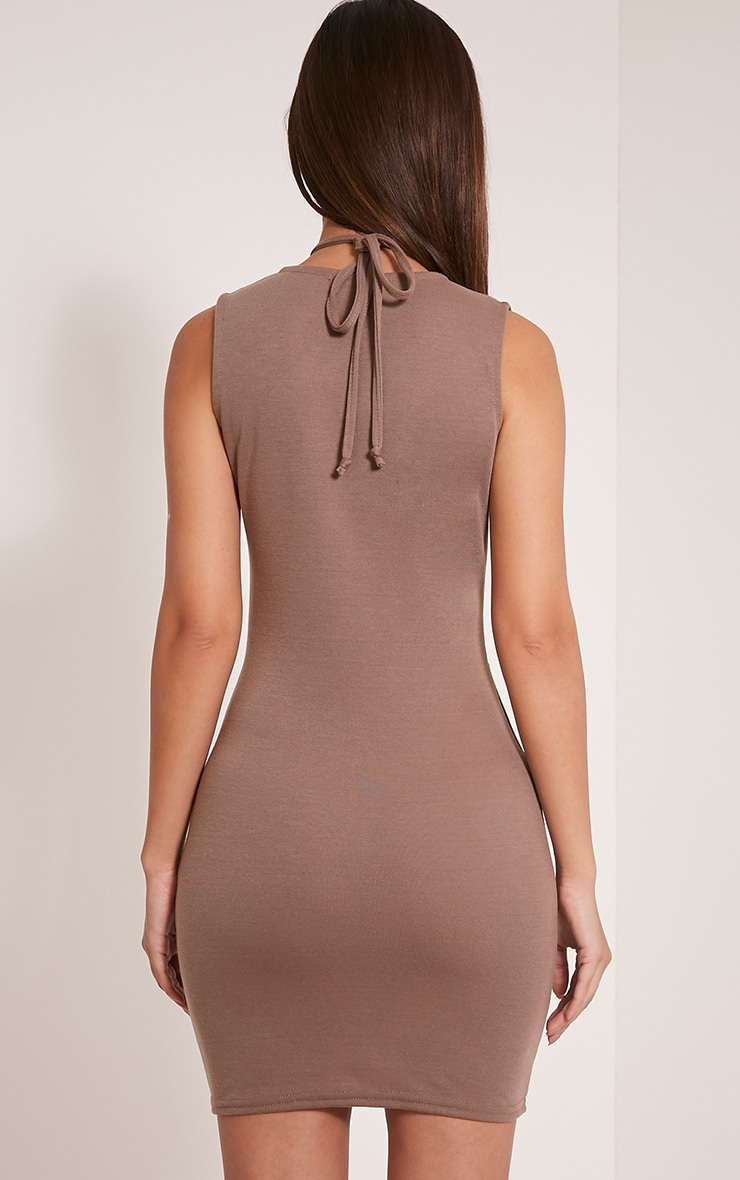Raynie Mocha Sleeveless Harness Bodycon Dress 2