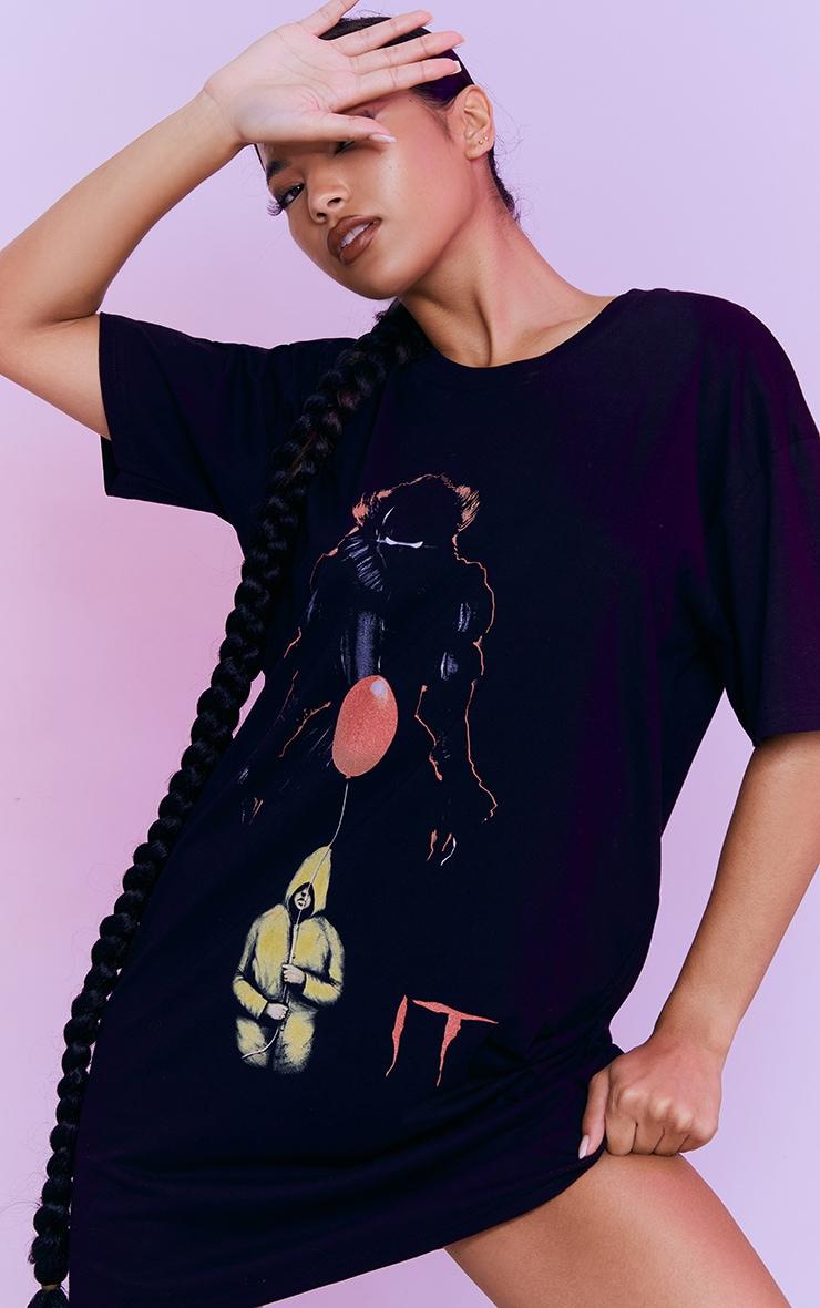 Black IT Print T Shirt Dress 1