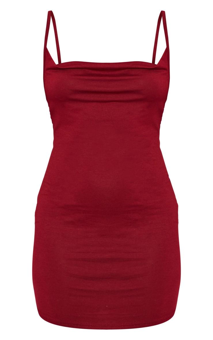Petite Burgundy Cowl Neck Jersey Bodycon Dress  2