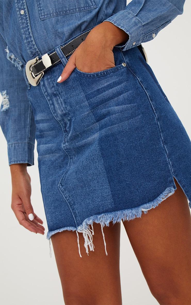 Mid Wash Contrast Wash Denim Mini Skirt 6