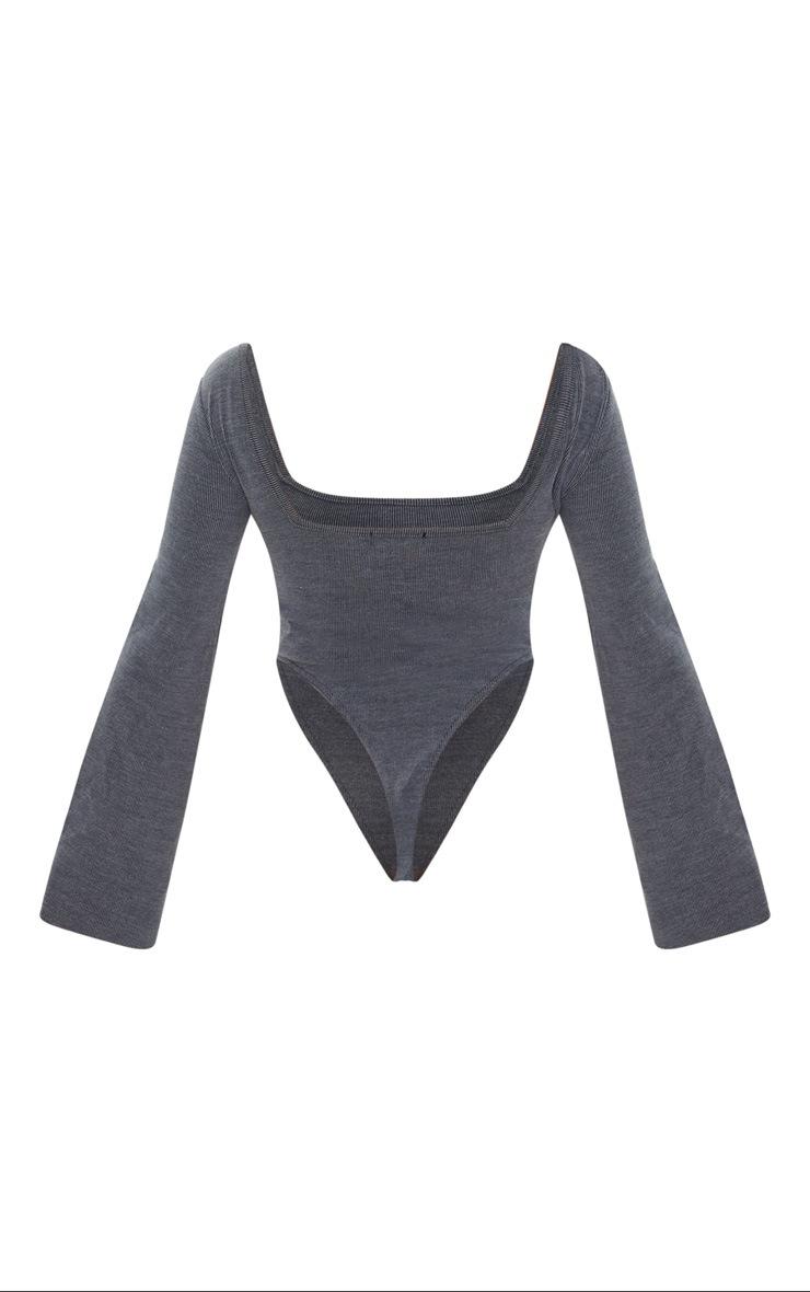 Black Washed Rib Square Neck High Leg Bodysuit 7