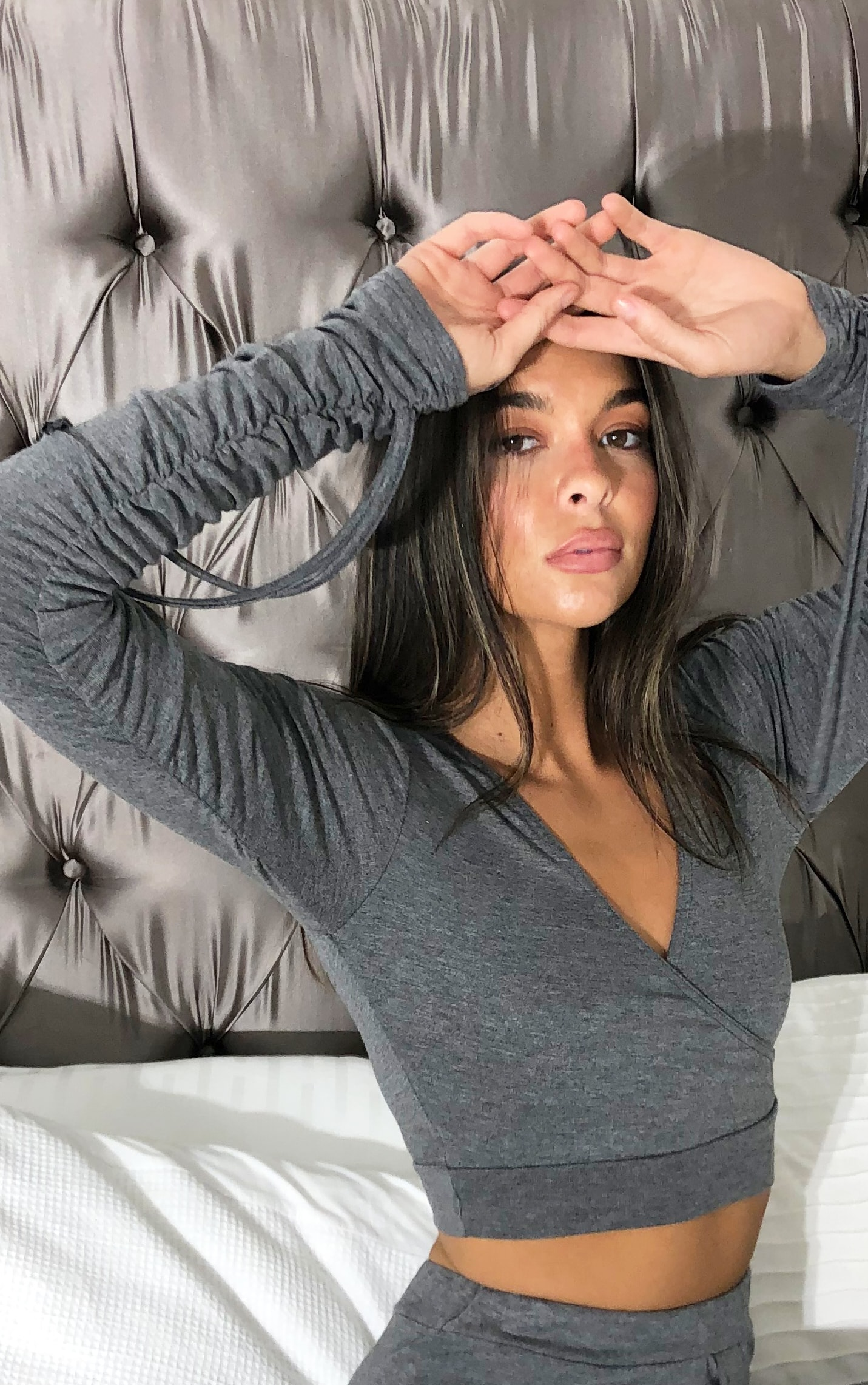 Charcoal Grey Wrap Front Ruched Long Sleeved Crop Top 4