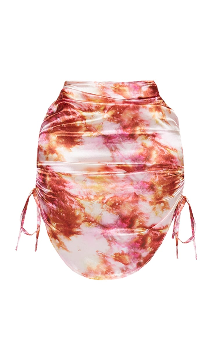 Shape Pink Tie Dye Satin Ruched Detail Bodycon Skirt 6