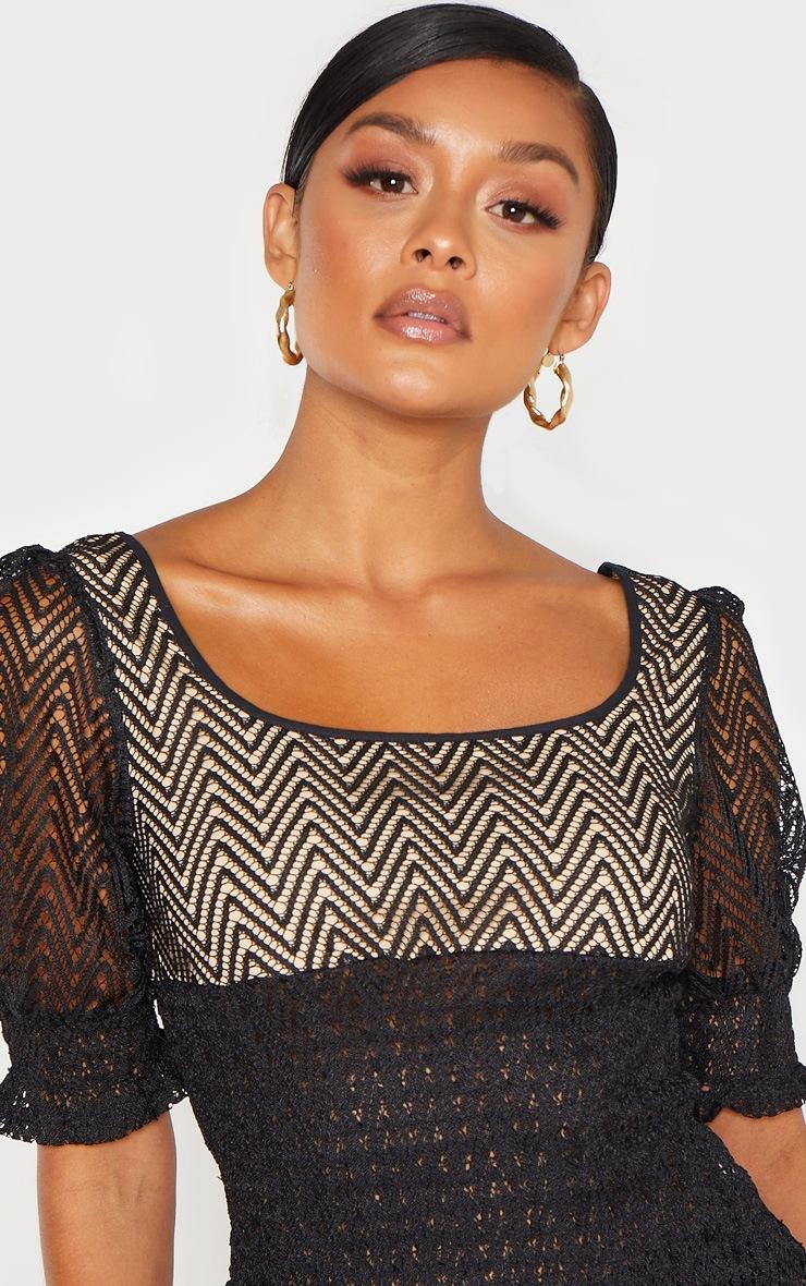 Black Shirred Detail Short Sleeve Blouse 5