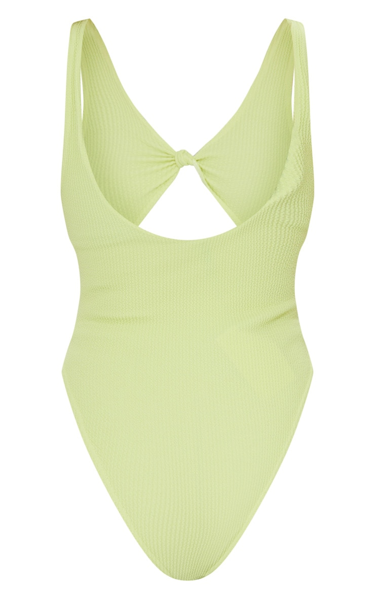 Sage Green Crinkle Knot Front Cut Out Swimsuit 6
