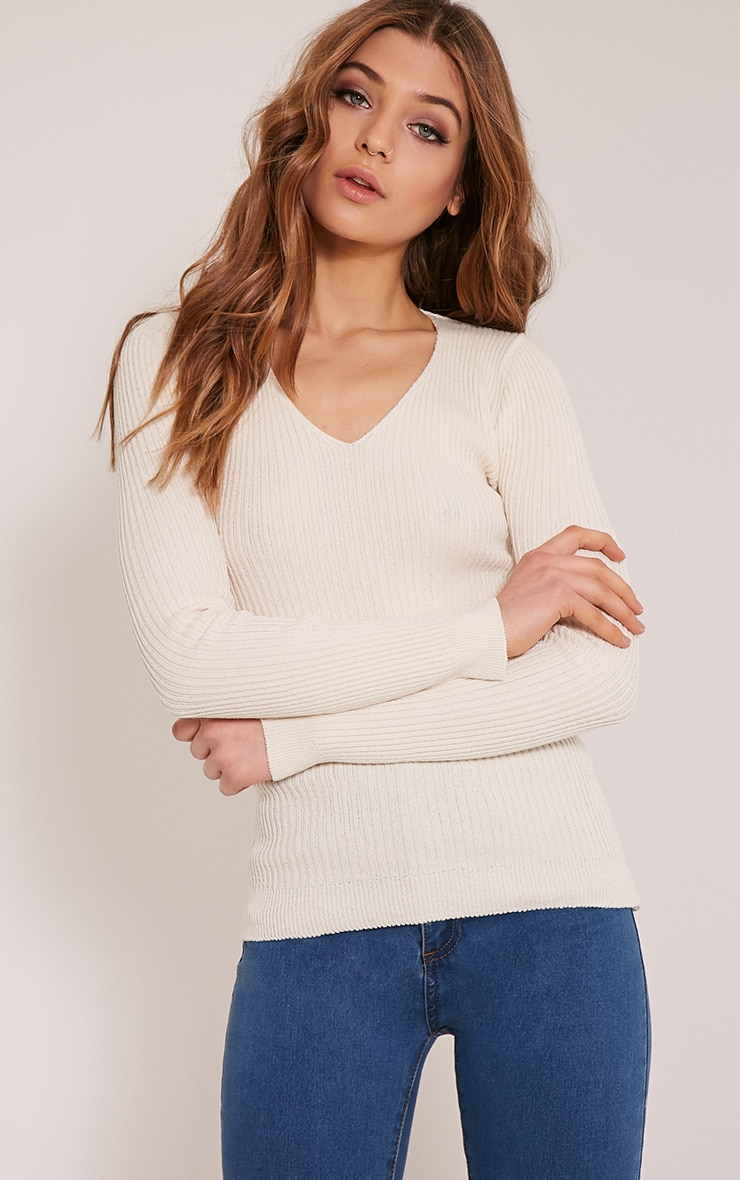 Skylah Cream Ribbed V Neck Jumper 1