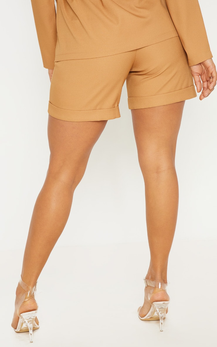 Camel Woven High Waisted Shorts 4