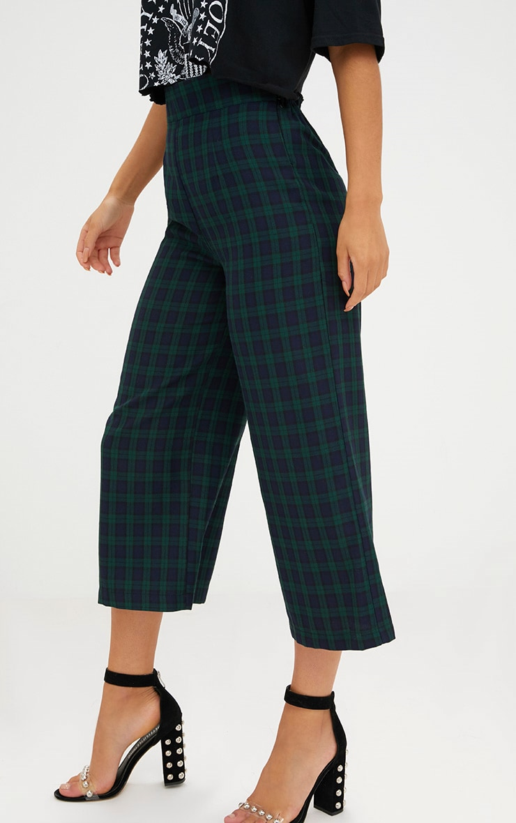 Navy Check High Waisted Culottes 4