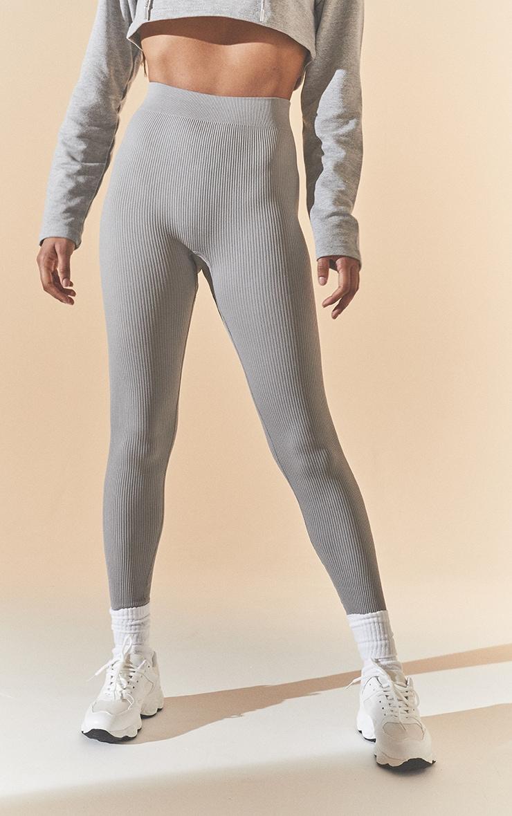 Grey Marl Structured Contour Rib Leggings 2