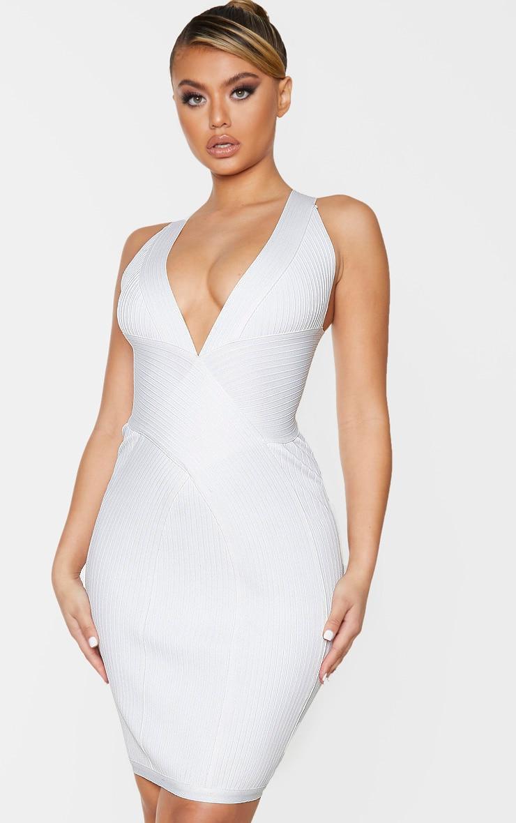 White Plunge Bandage Midi Dress 1