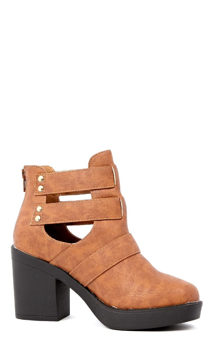 Jasmine Tan Leather Cut Out Chunky Buckle Boots 2