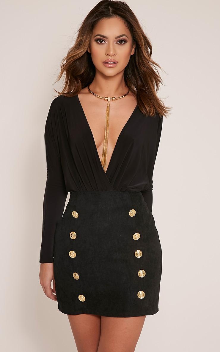 Bette Black Button Detail Mini Skirt 1