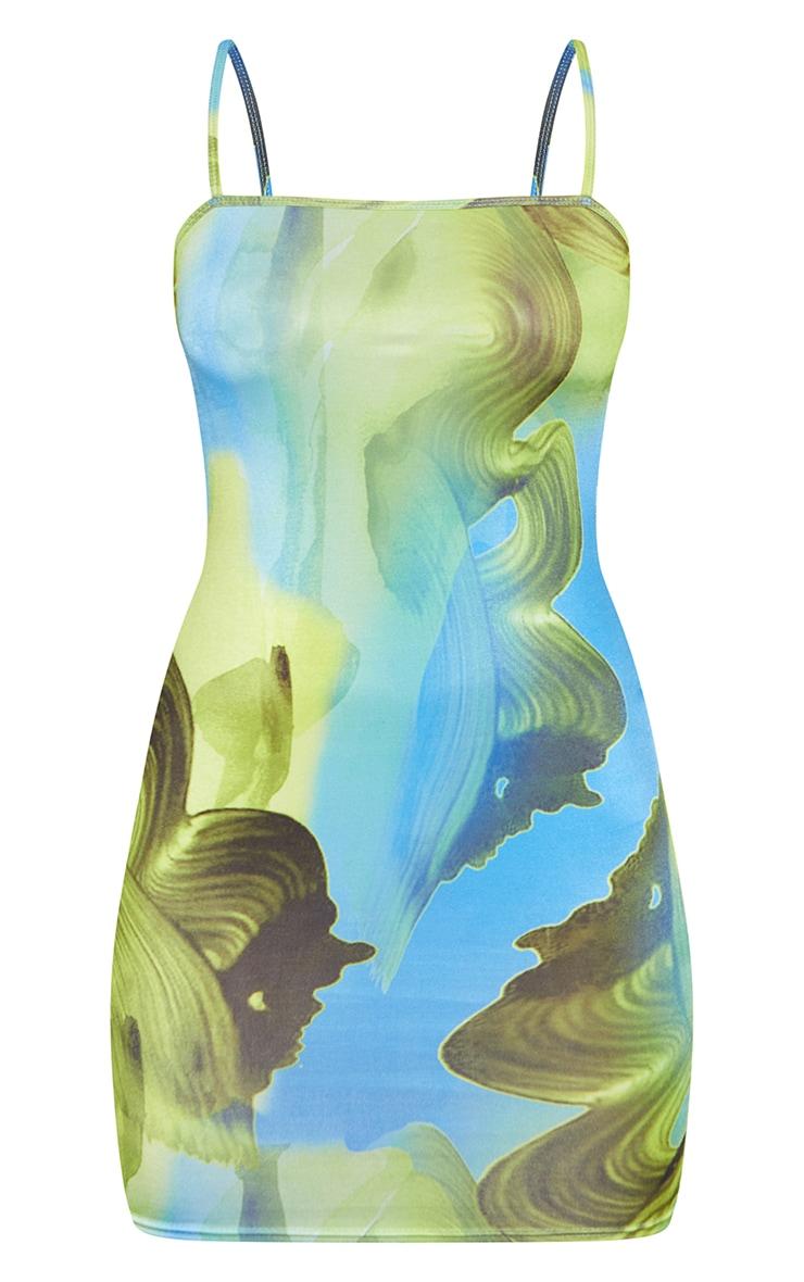 Robe moulante slinky bleu imprimé abstrait à bretelles fines 5