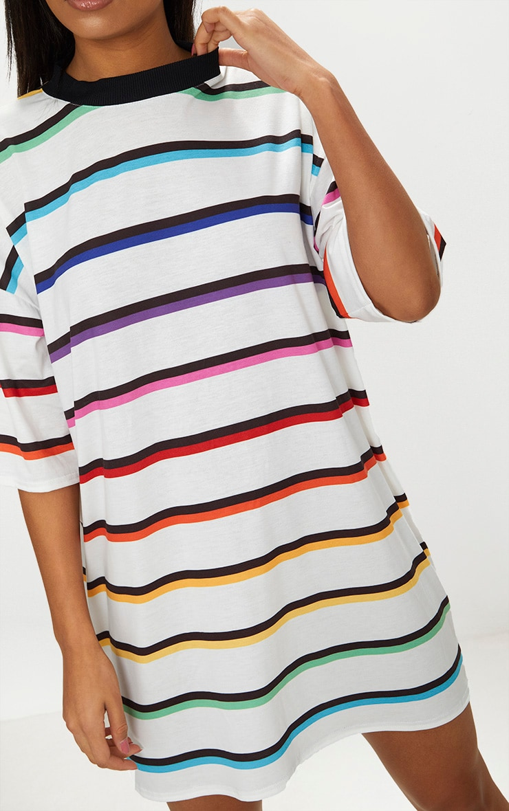 White Rainbow Stripe T Shirt Dress  5