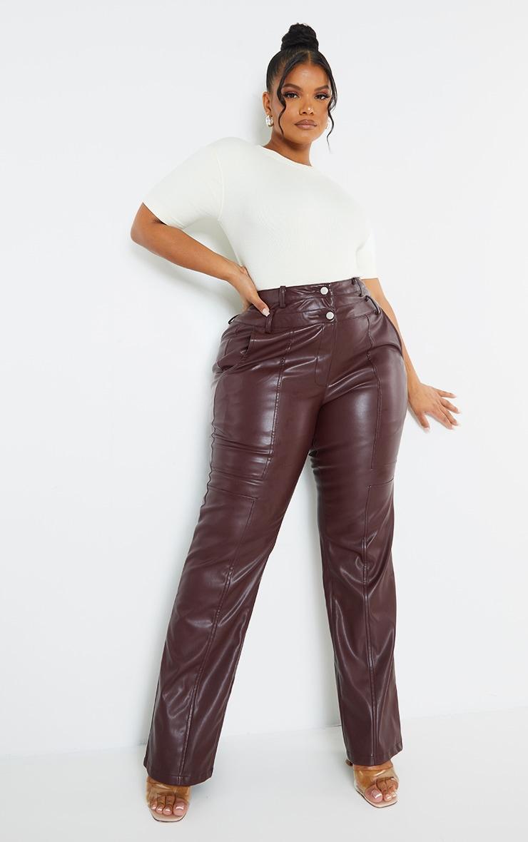 Plus Purple Faux Leather Double Waistband Straight Leg Pants 1