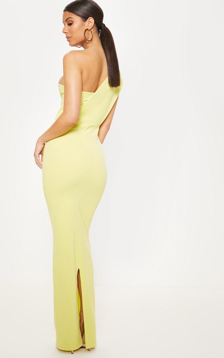 Light Lime One Shoulder Maxi Dress 2