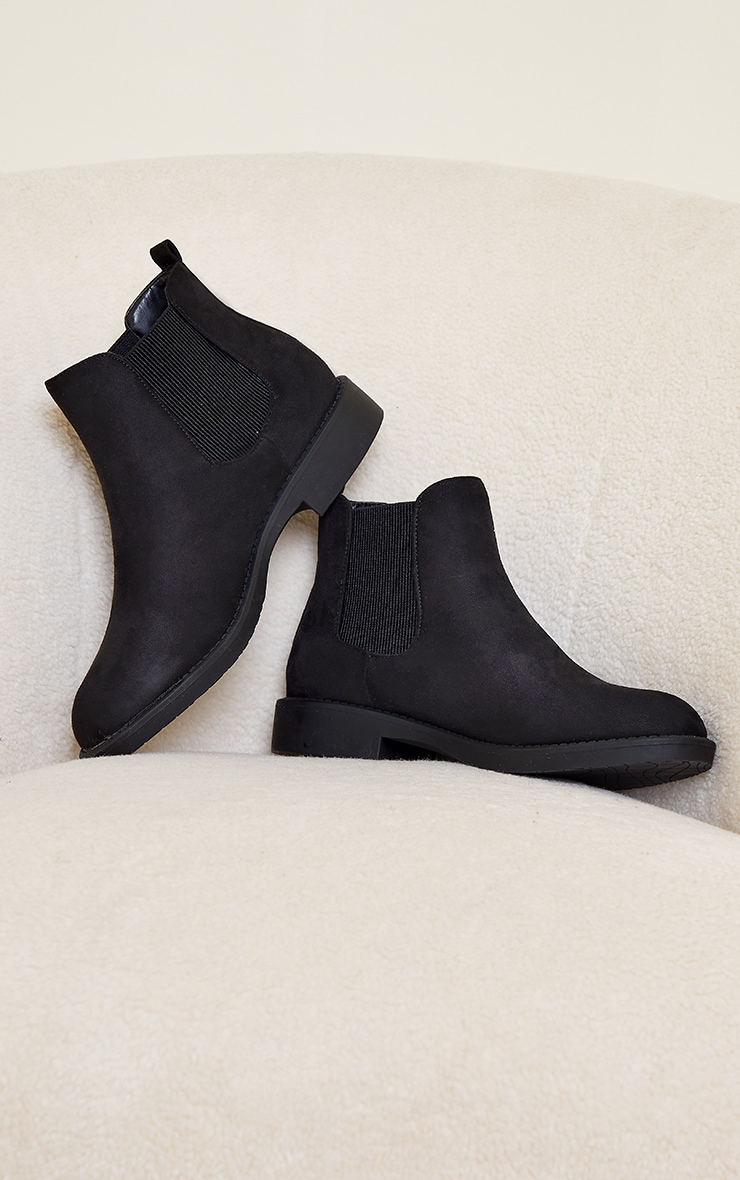 Black Faux Suede Basic Chelsea Ankle Boots 3