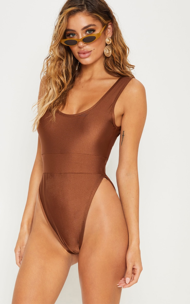 Chocolate Elasticated Waist Swimsuit